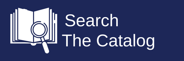 "A Banner that reads ""Search Our Catalog."" To the left of the text there is a graphic of a book with a magnifying glass on top of it."