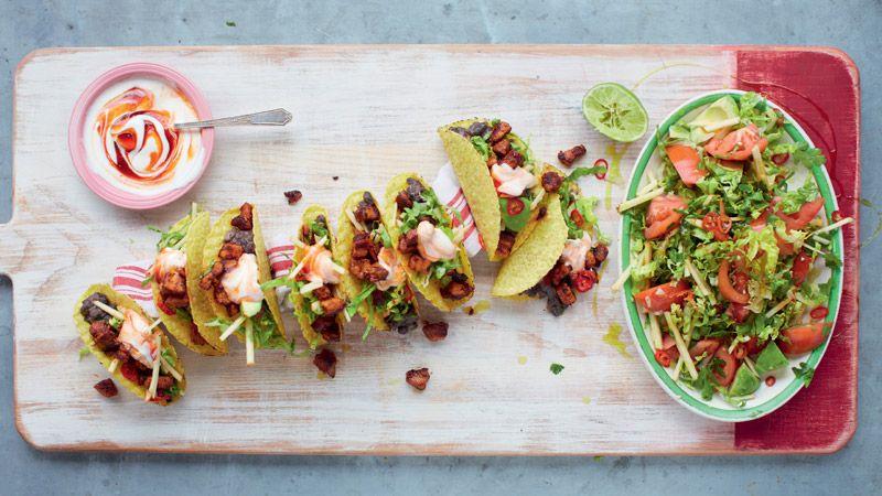 Jamie Oliver's Ultimate Pork Tacos, Spicy Black Beans, and Avocado Garden Salad