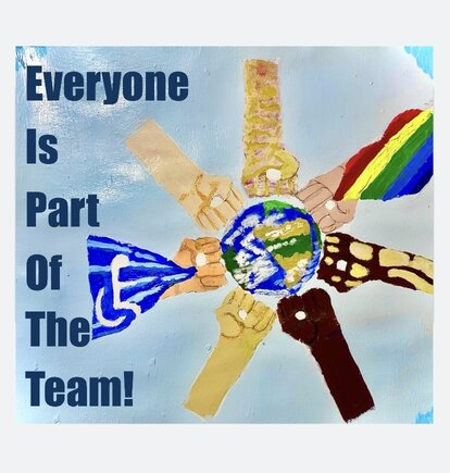 Aris Dominguez-Canela - Everyone Is Part Of The Team. Different hands circle a globe