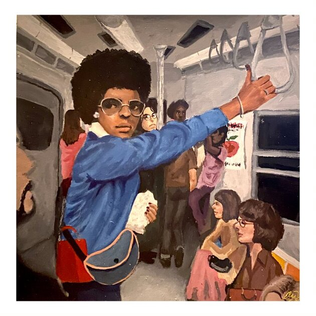 Ethan Twiggs- Subway Car, Circa 1976. Different individuals on a subway car.