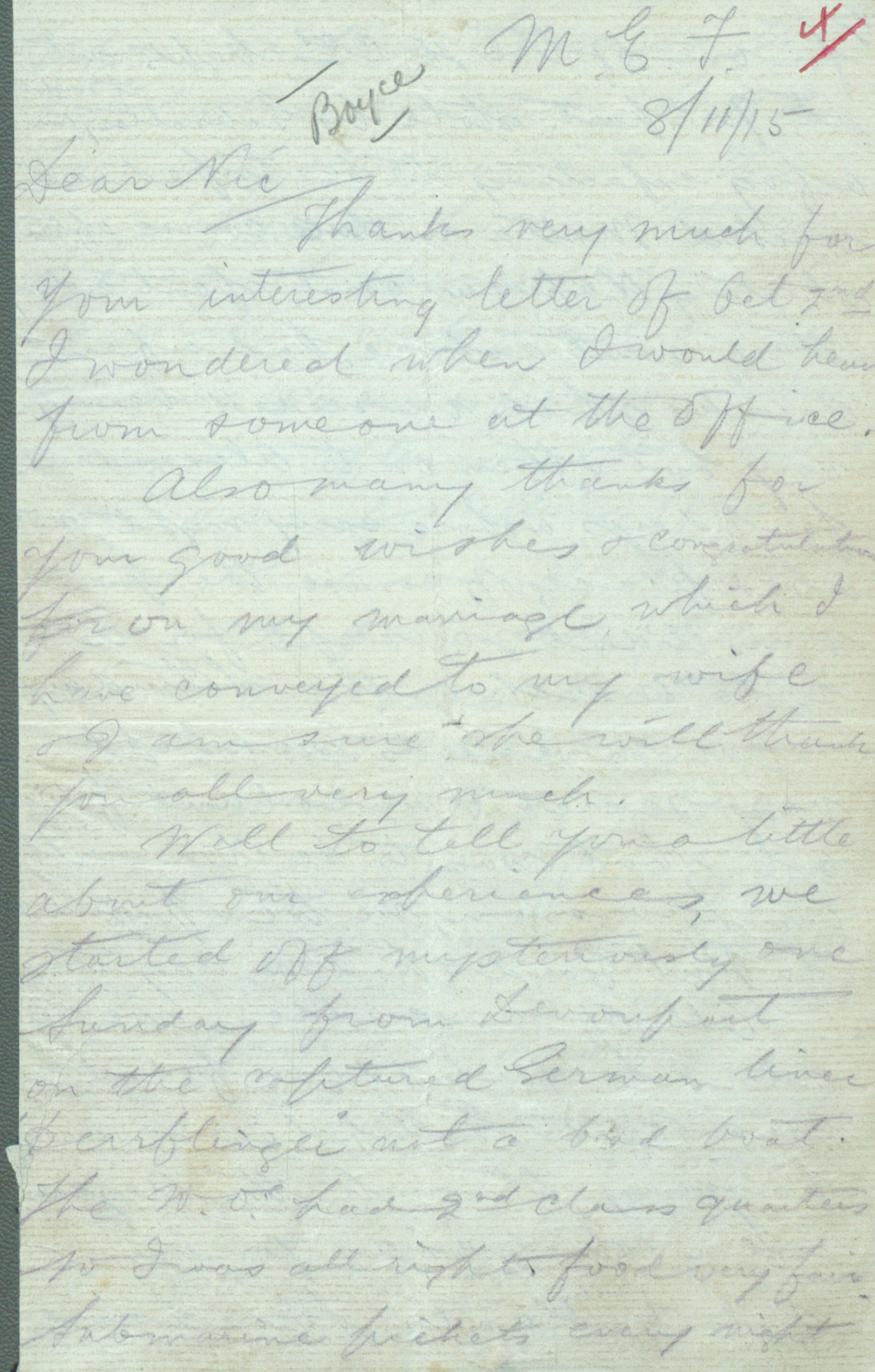 Wold War I-era letter written by solider