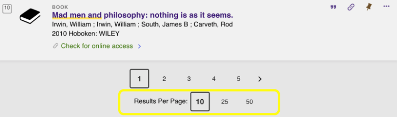 screenshot of results per page