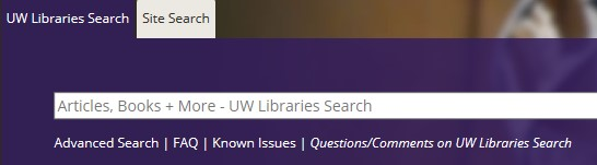 Screenshot of search box on homepage