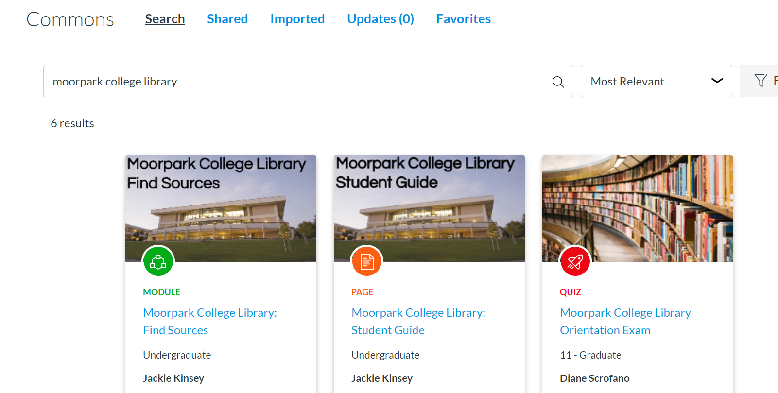 Search results screen with Moorpark College Library typed into search box in Canvas Commons
