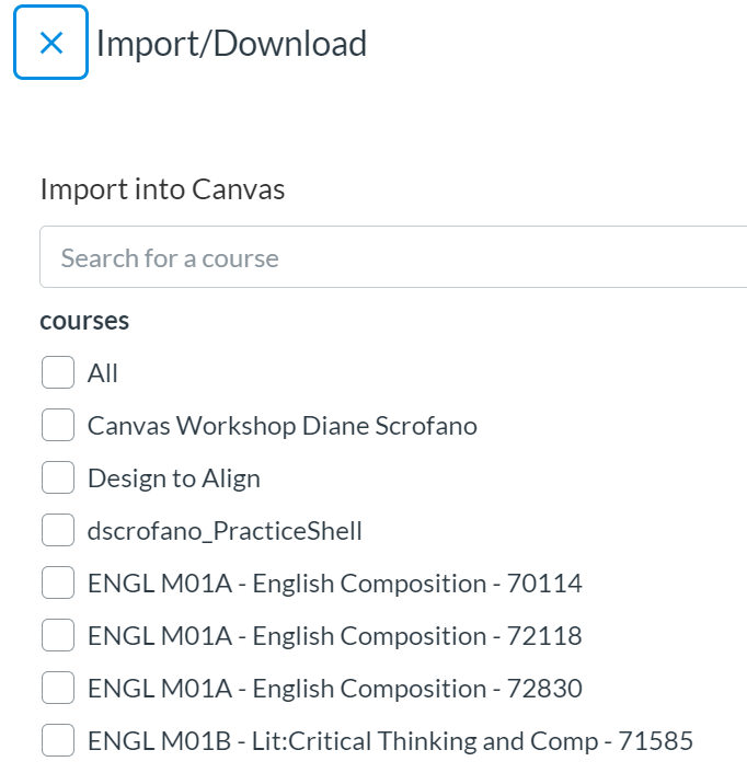 search box and list of courses to choose from (so you can select what Canvas course you'd like the Commons resource imported to)