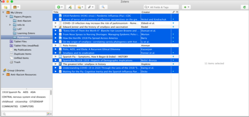 Screen shot showing sources selected in Zotero