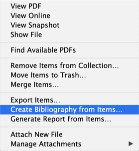 Zotero right-click menu