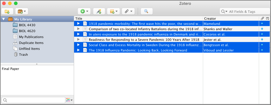 screenshot of Zotero library with citations selected