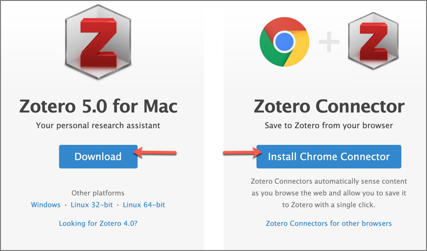 screenshot of Zotero 5.0 download