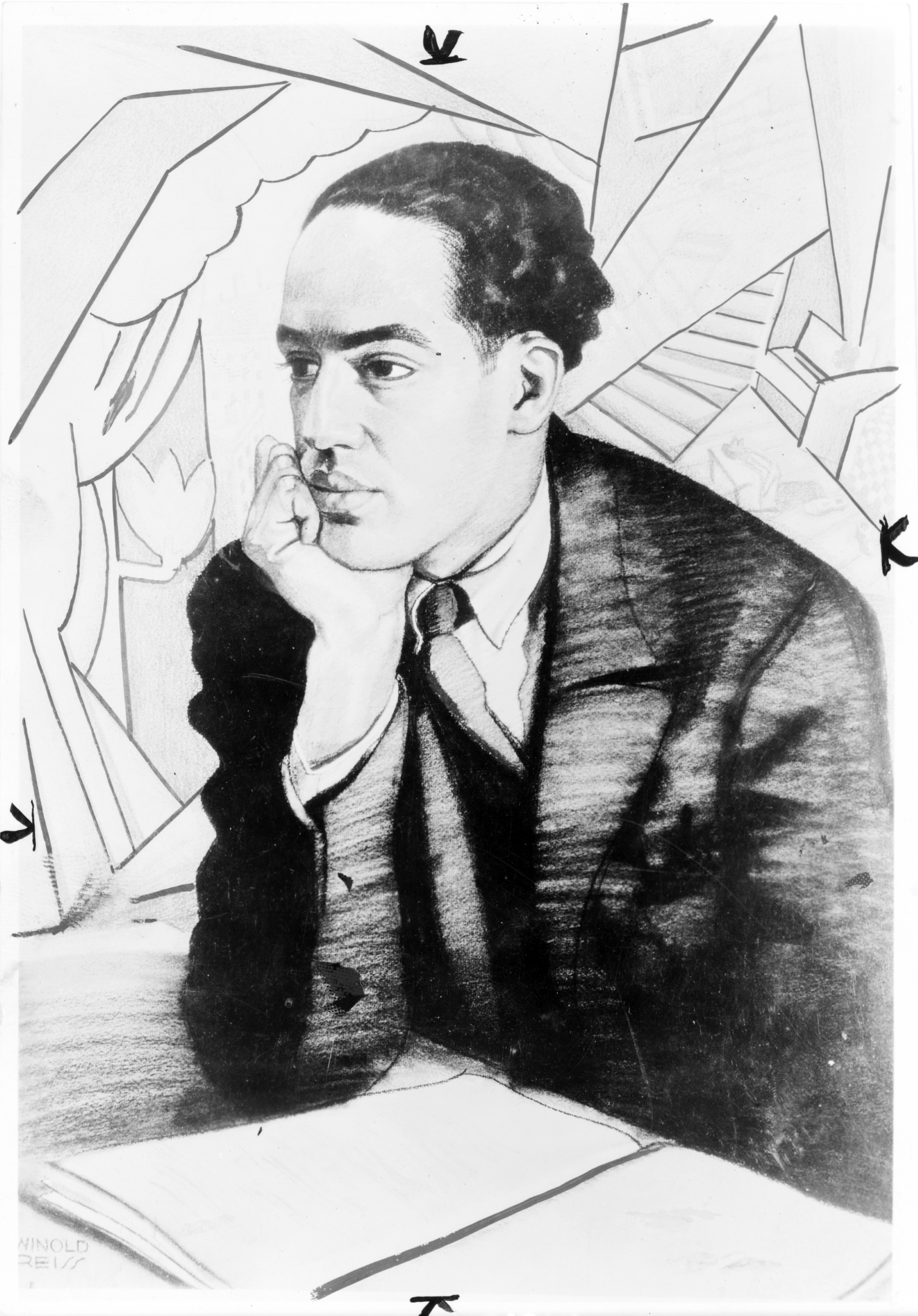 Langston Hughes, half-length portrait, seated, facing right, with right hand under chin