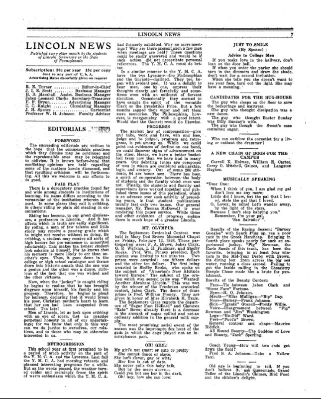 Lincoln News - A New Chain of Dogs for the Campus - Monday, March 1, 1926 Page 7