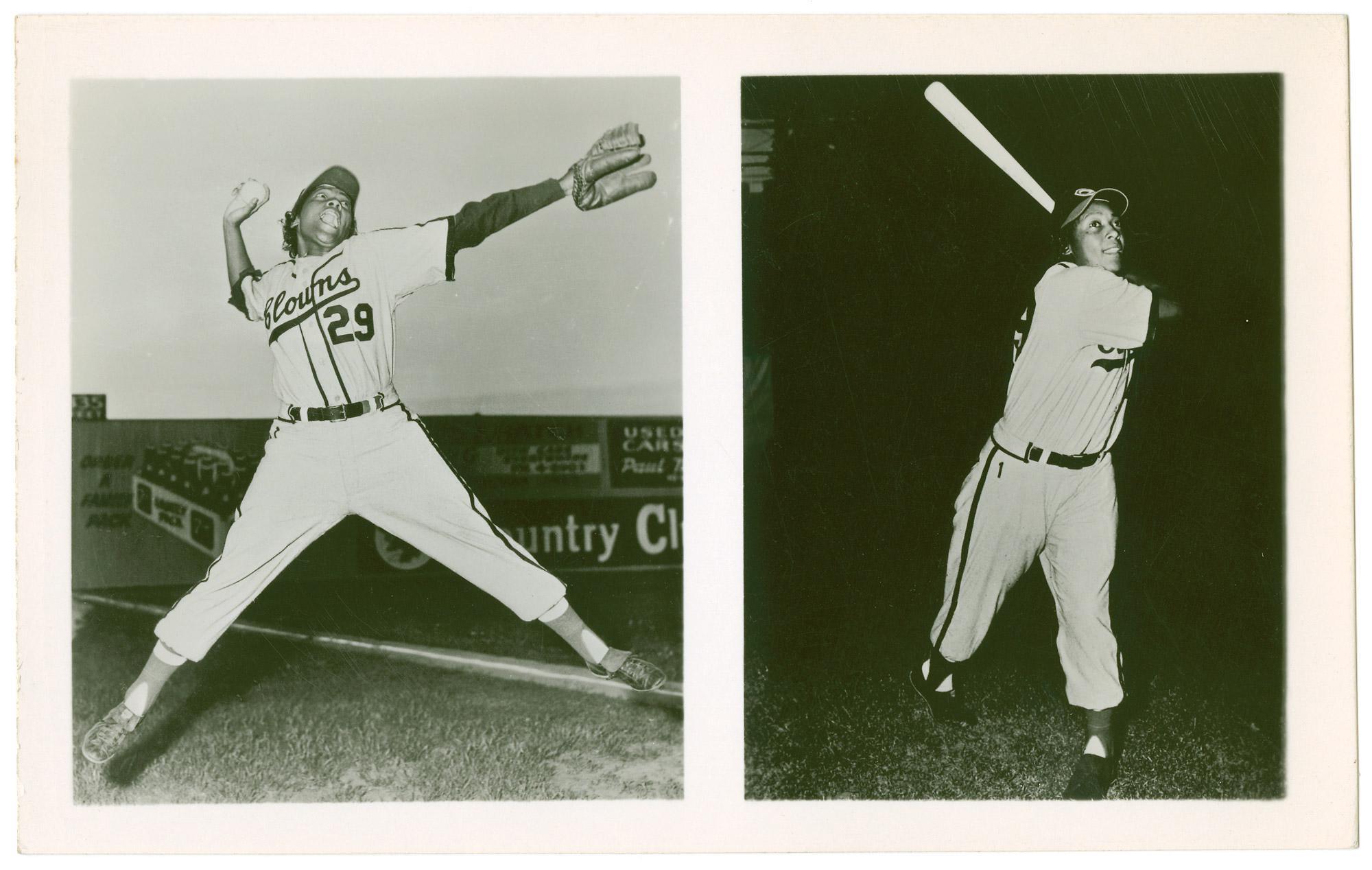 1953 postcard of Toni Stone pitching and hitting