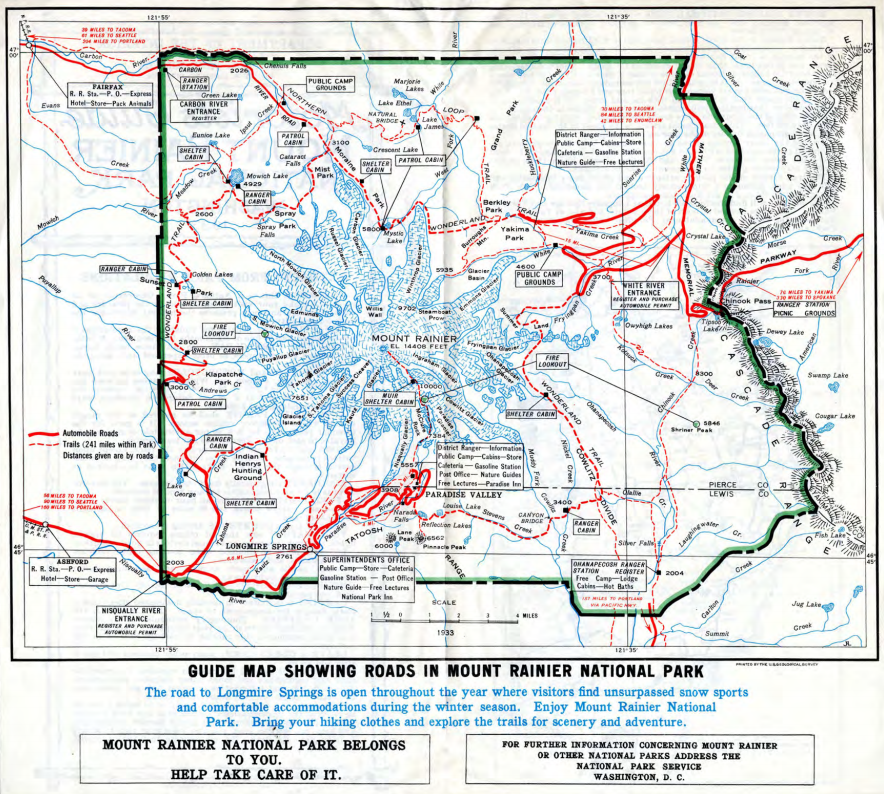 Mount Rainier National Park road map. 1933
