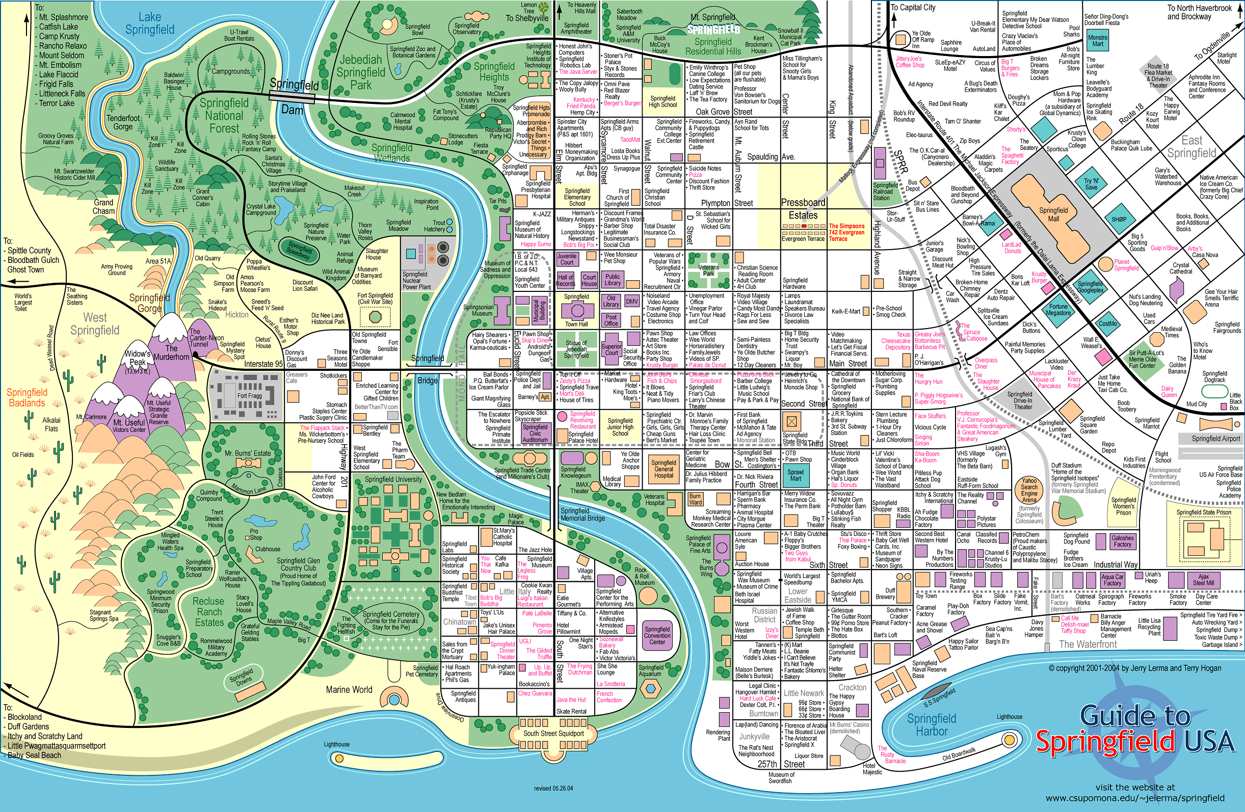 Map Springfield the Simpsons