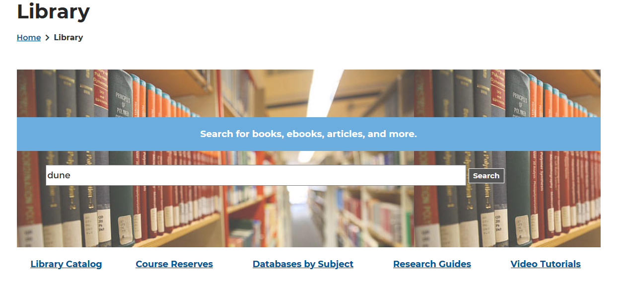 "Library catalog search widget with ""Dune"" typed into the search form"