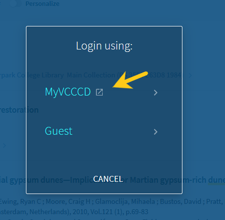 "Pop-up window to login using ""MyVCCCD"" or ""Guest"" with an arrow pointing at ""MyVCCCD"""