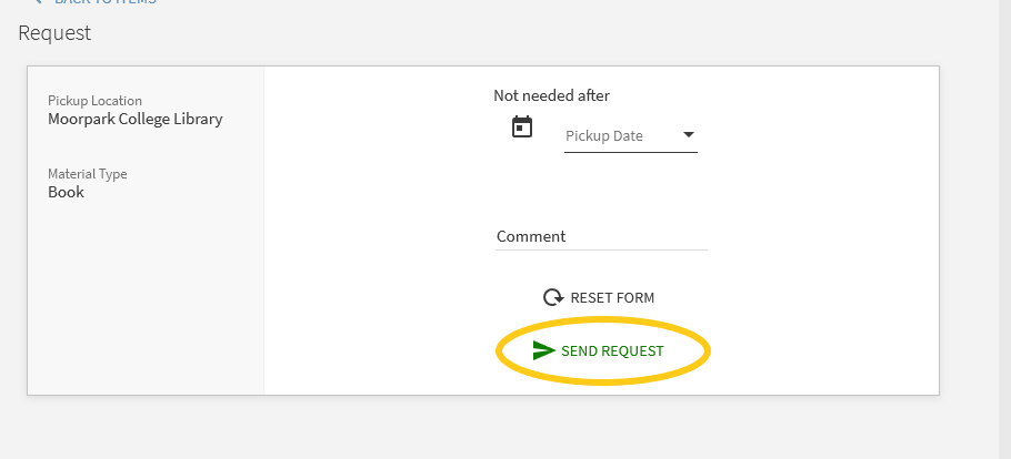 The request window with options to comment and to send request