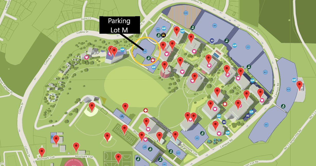 Moorpark College campus map indicating Parking Lot M near the left side of the map