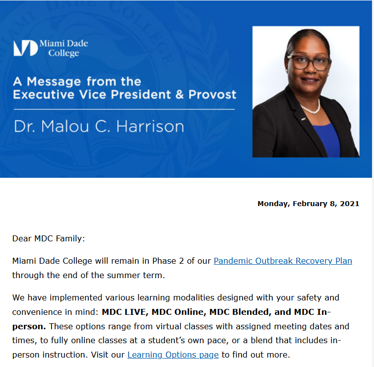 February 8, 2021 Email from Dr. Harrison (MDC Executive Vice President and Provost)