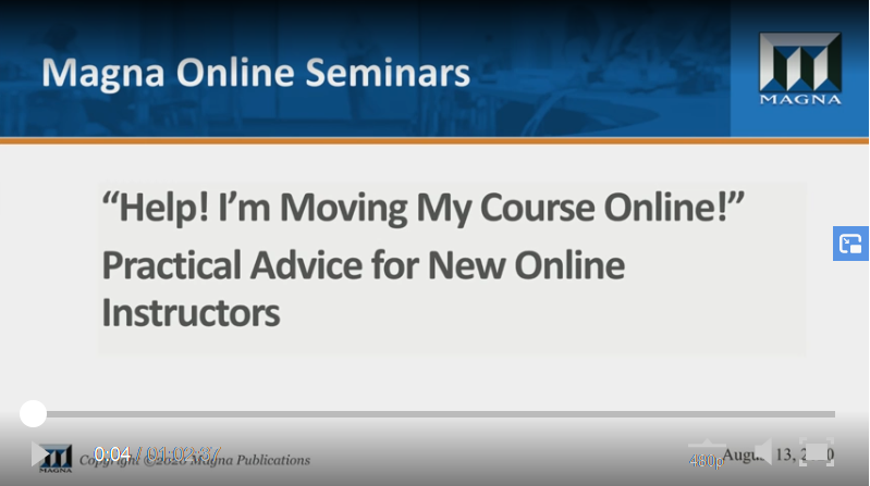 """""""Help! I'm Moving My Course Online!""""– Practical Advice for New Online Instructors"""
