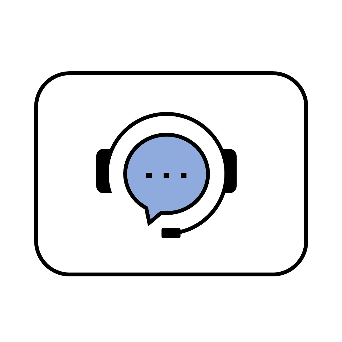 Icon of chat bubble with headphones