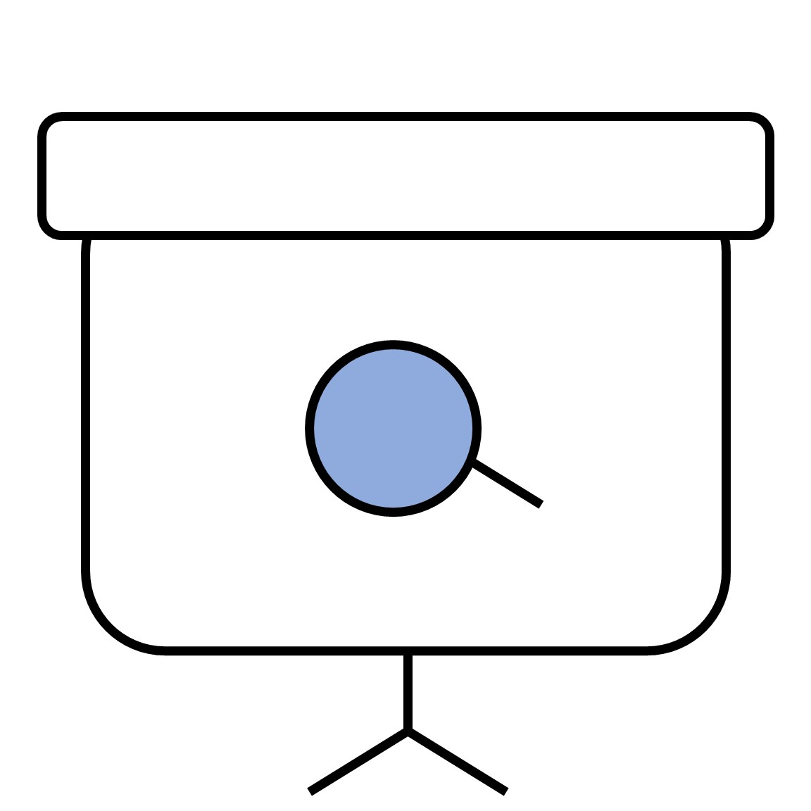 Projector icon with magnifying glass