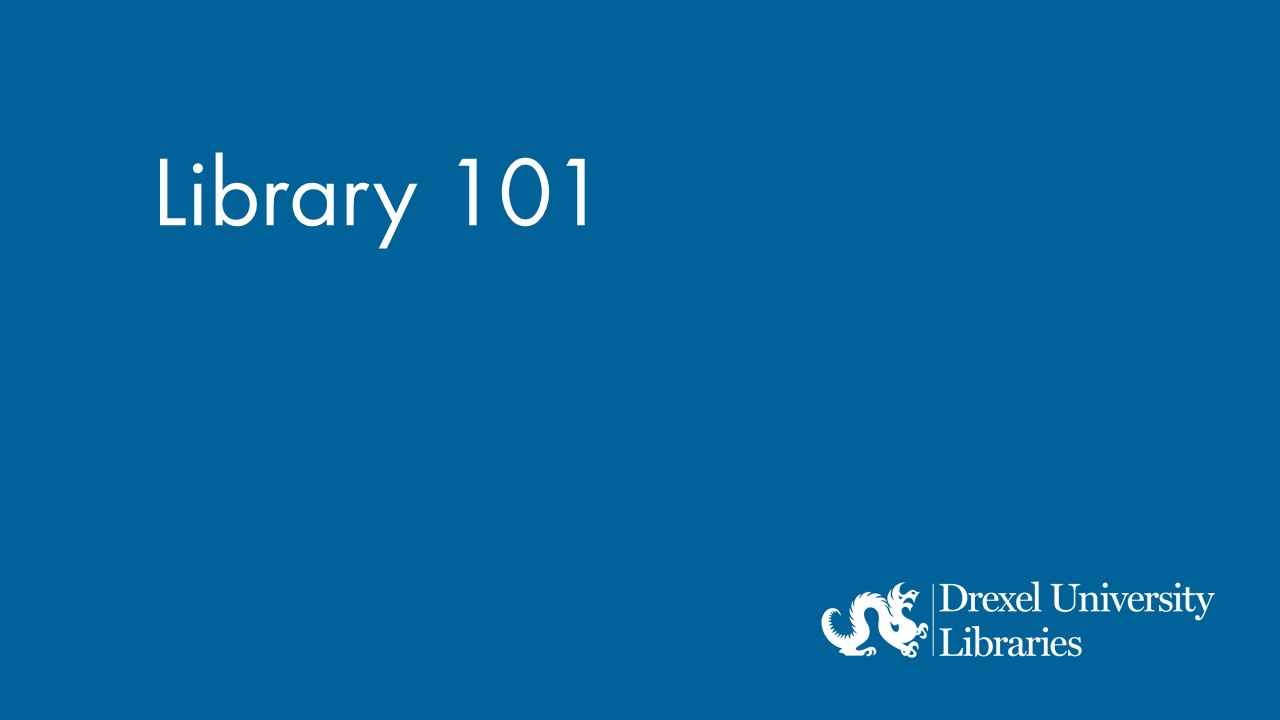 Blue background with text: Library 101