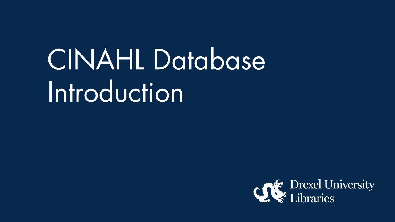 blue background with text: cinahl database introduction