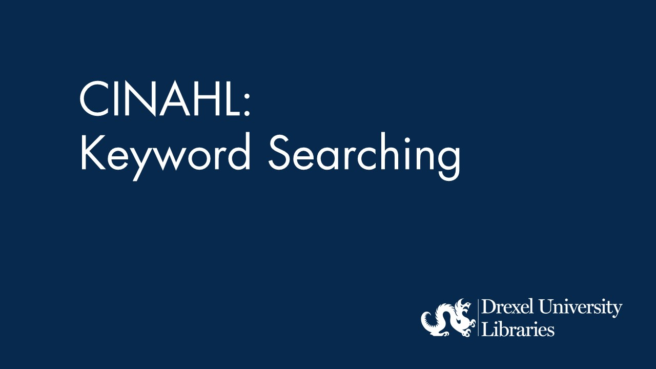 blue background with text: cinahl keyword searching