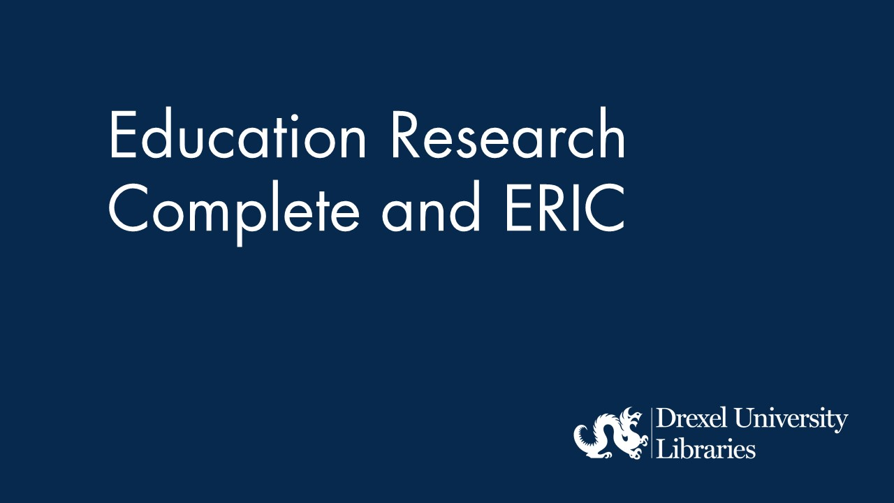 Blue background with text: education research complete and ERIC