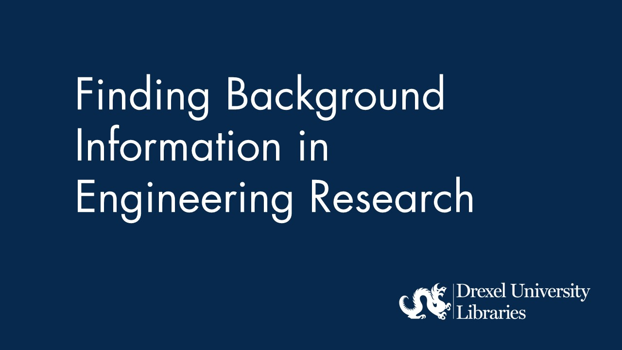 Blue background with text Finding Background information in engineering research