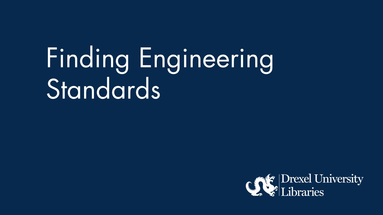 Blue background with text: finding engineering standards