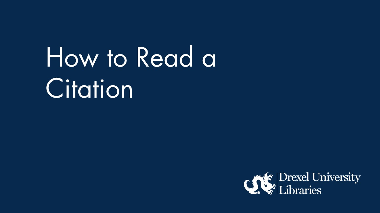 Blue background with text: How to Read a Citation