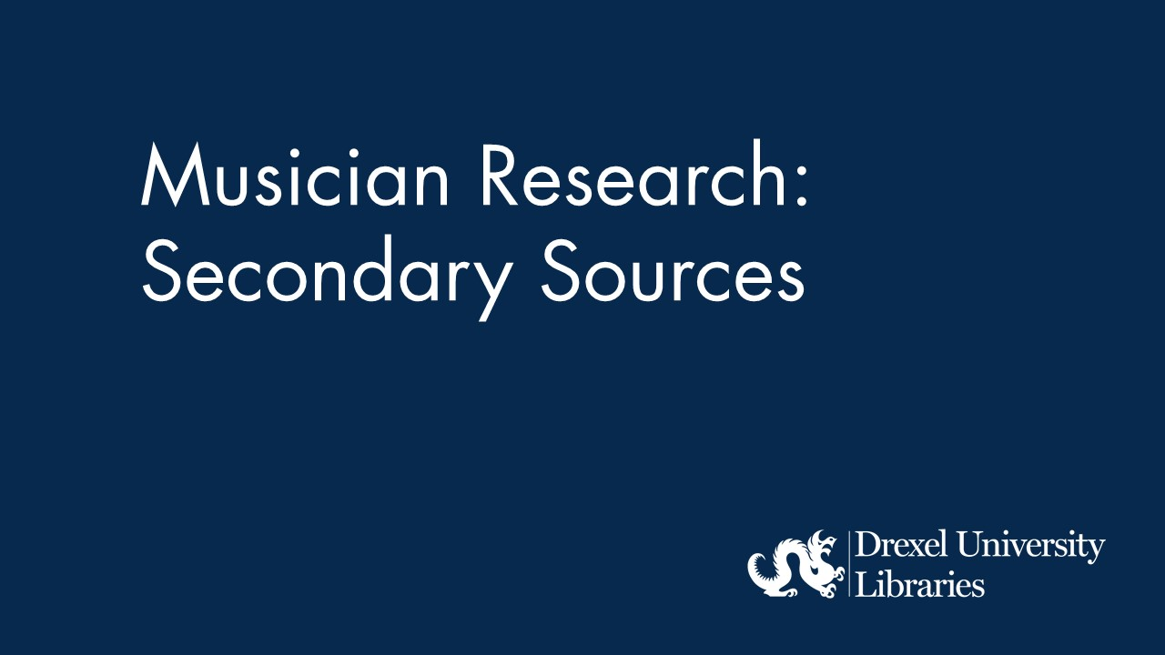 Blue background with text: musician research: secondary sources