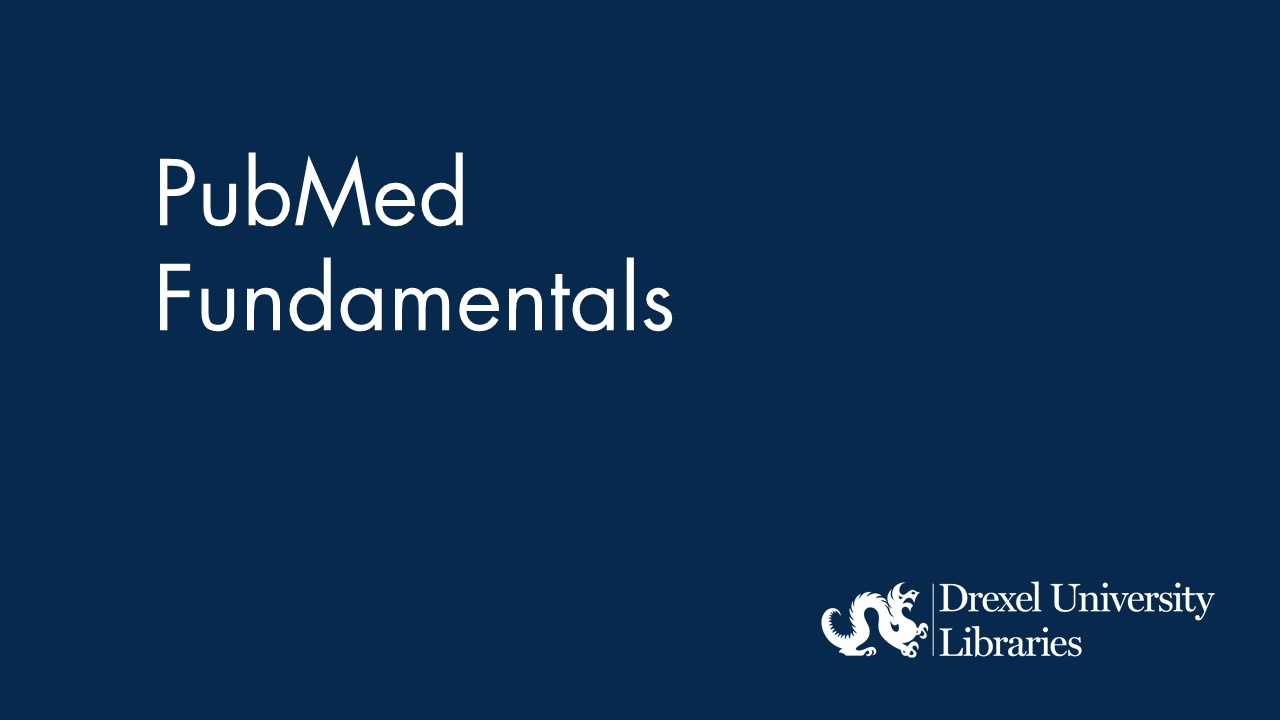 blue background with text: pubmed fundamentals