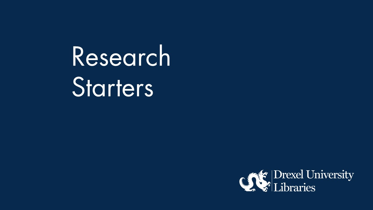 Blue background with text: research starters