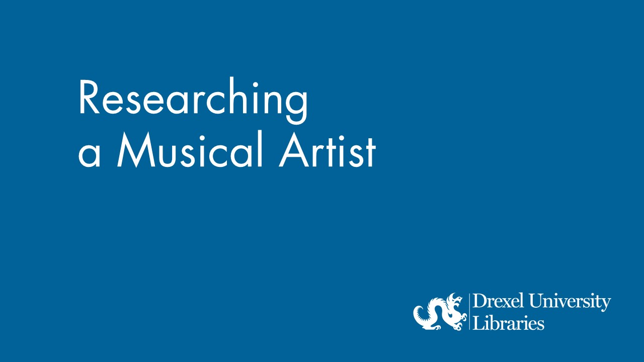 Blue background with text: researching a musical artist