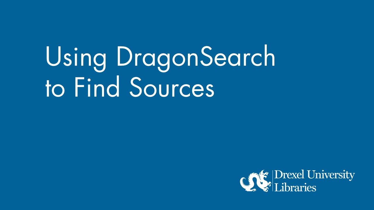 Blue background with text: Using DragonSearch to find sources