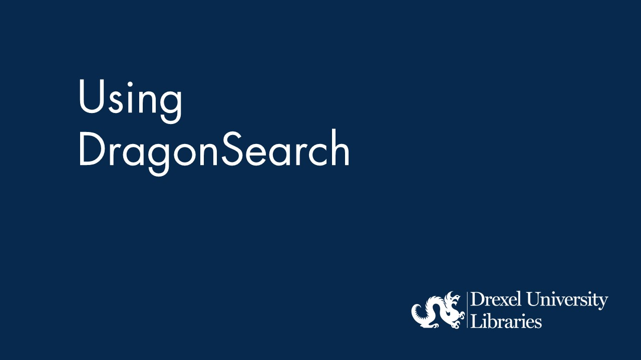 Blue background with text: Using DragonSearch