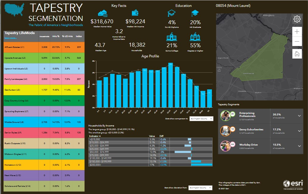 Tapestry segmentation report example