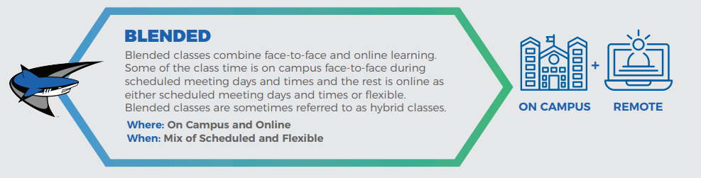 Graphic with definition of blended courses.
