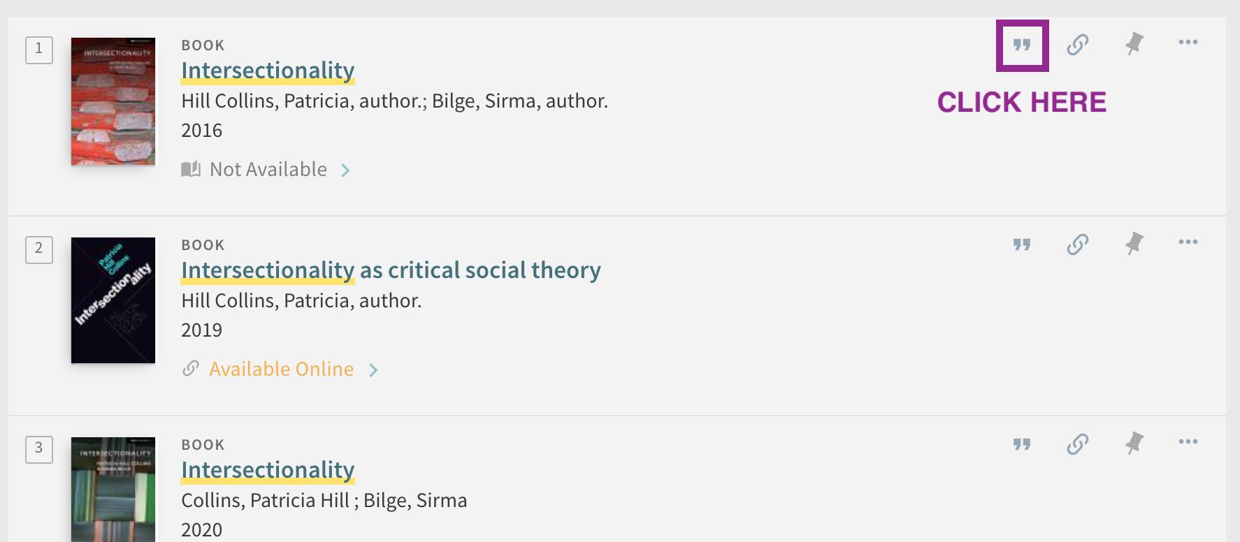 screenshot showing citation icon