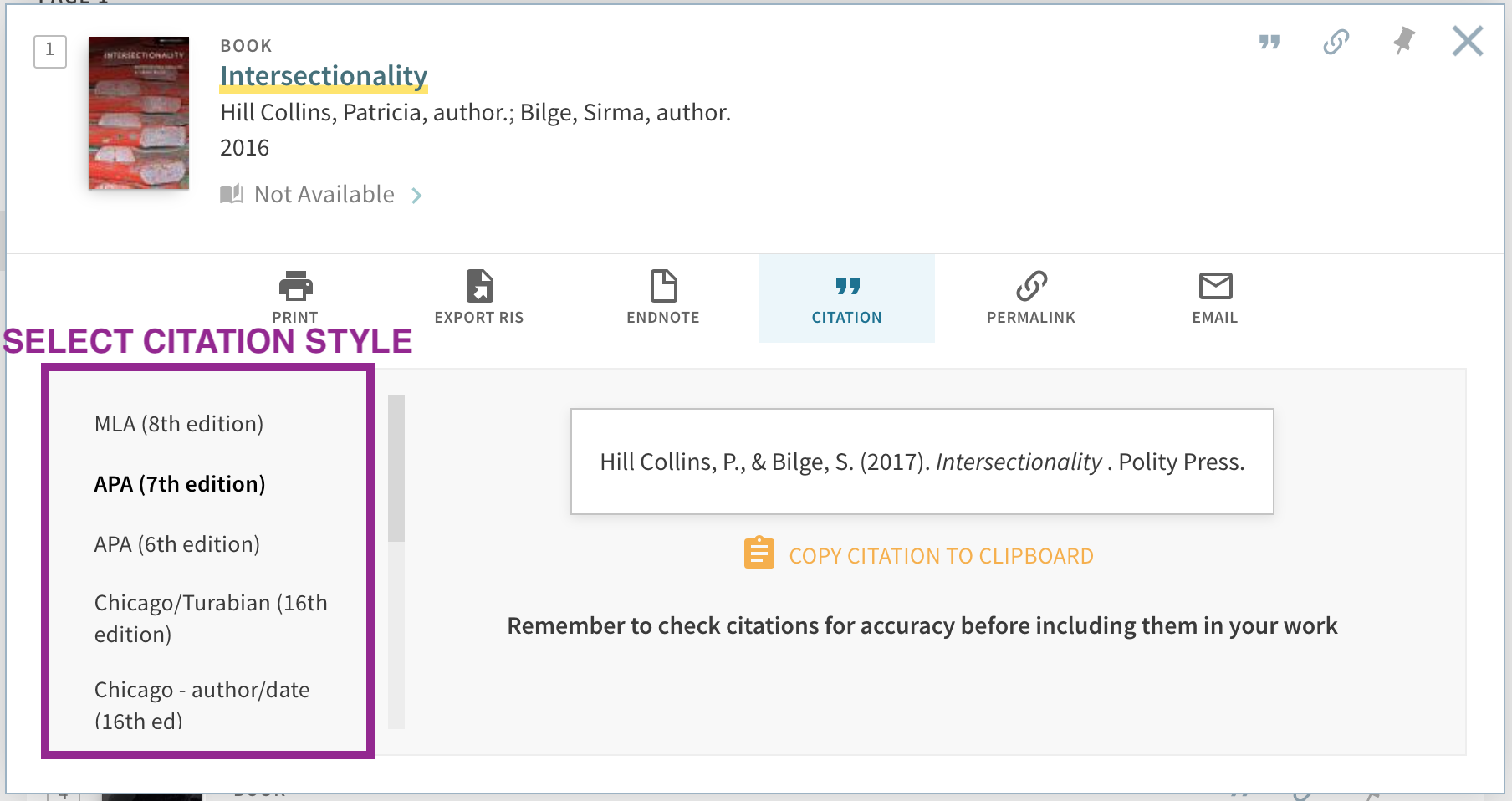 screenshot showing citation tool