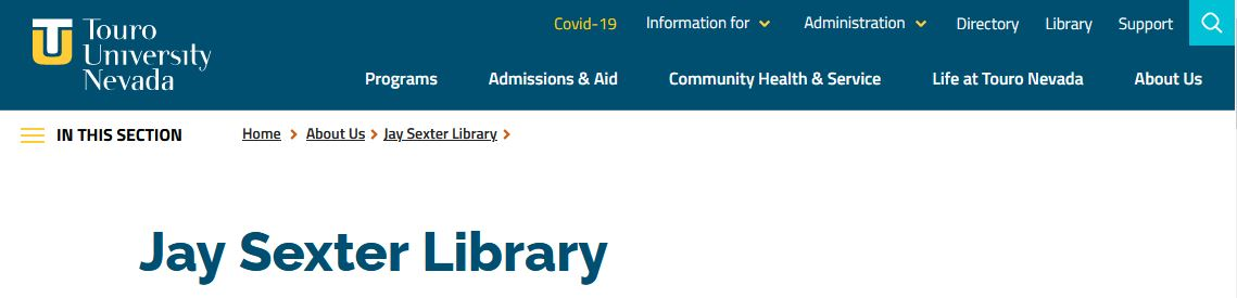 Image of Library Homepage