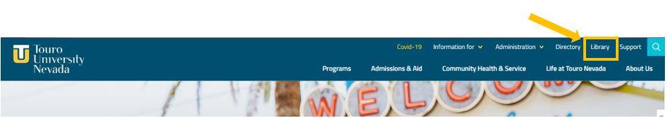 Library Link at top Touro University Nevada Homepage navigation bar