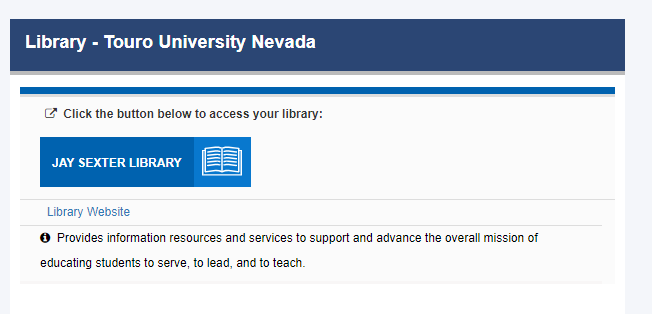 Library link in TouroOne portal