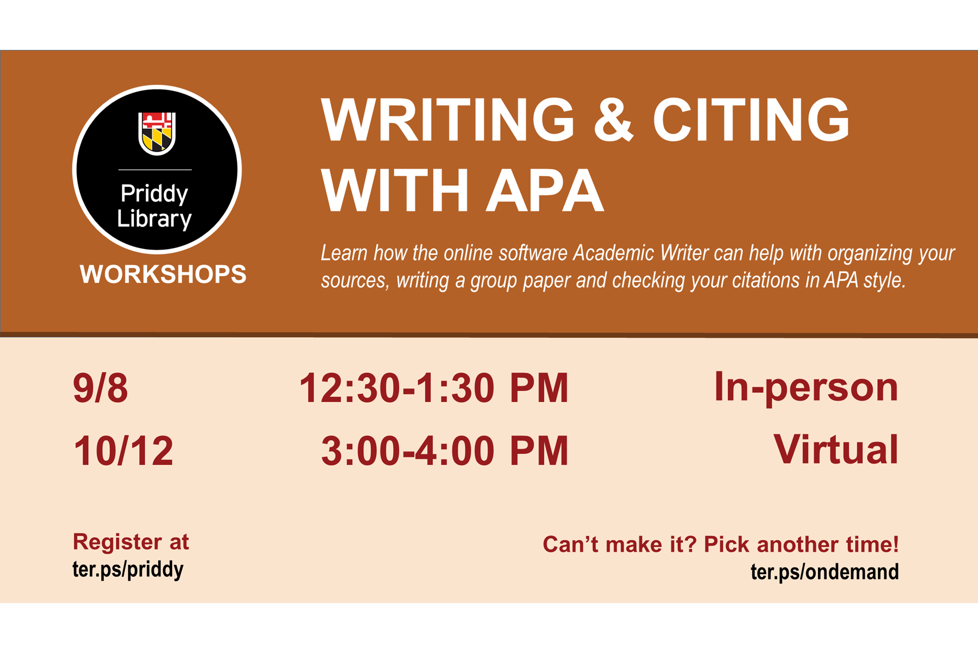 Writing and Citing with APA workshop flyer