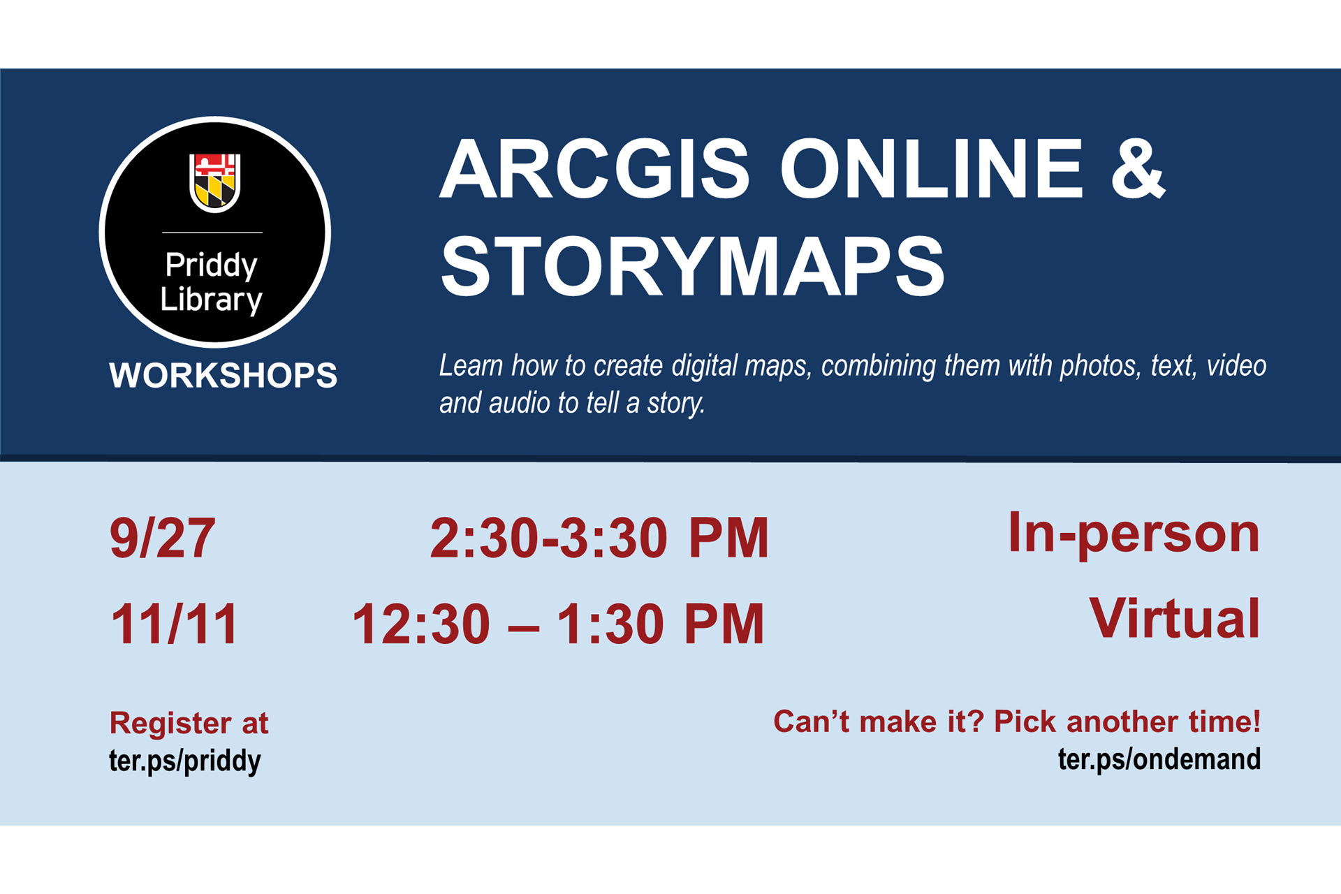 ArcGIS Online & StoryMaps Workshop Flyer