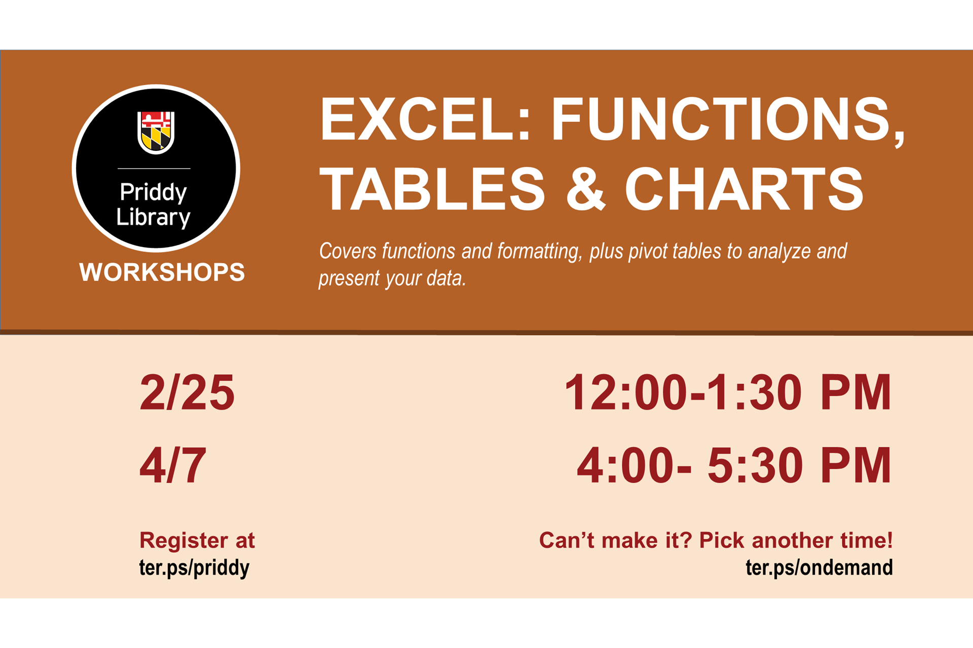 Excel workshop flyer