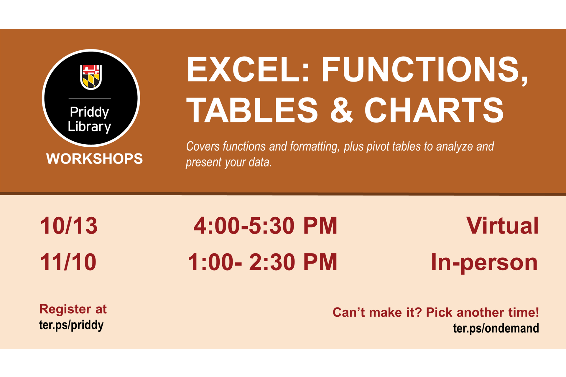 Excel workshop flyer